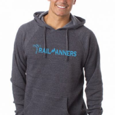 TrailManners grey hoodie with blue lettering.